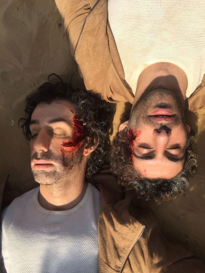 A prosthetics double (left) of Jim Sarbh in The Wedding Guest