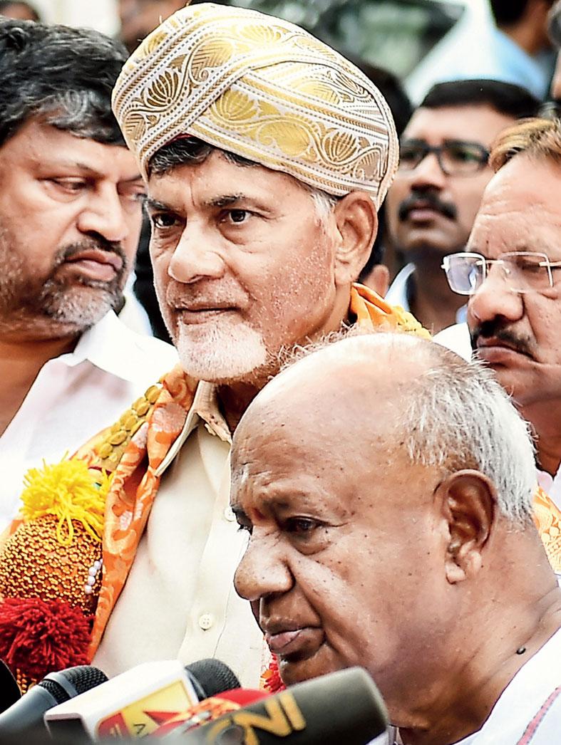 N Chandrababu Naidu and HD Deve Gowda in Bangalore on Thursday.