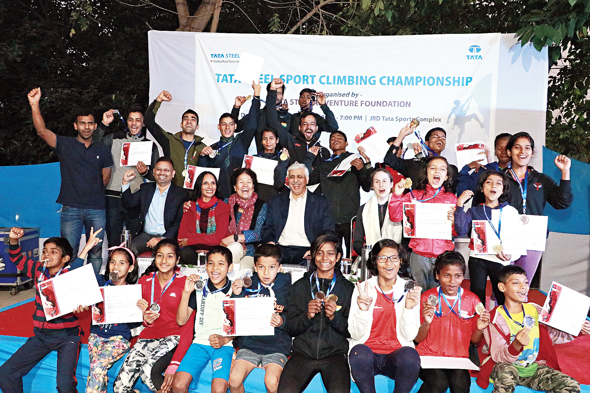 Climbers with their medals and certificates at JRD Tata Sports  Complex in Bistupur, Jamshedpur, on Monday.