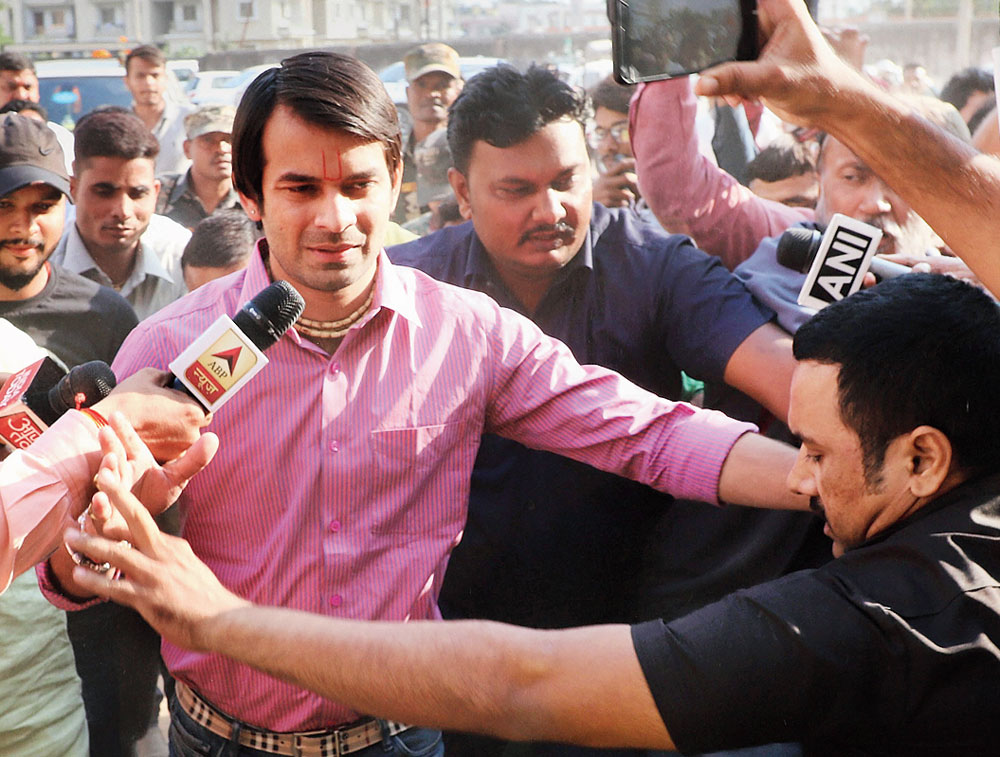 Tej Pratap Yadav arrives in Ranchi to meet his father Lalu Prasad on Saturday.