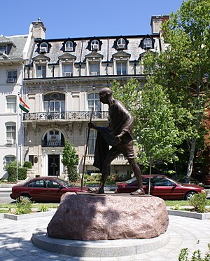 Mahatma Gandhi's statue outside the Indian embassy in Washington