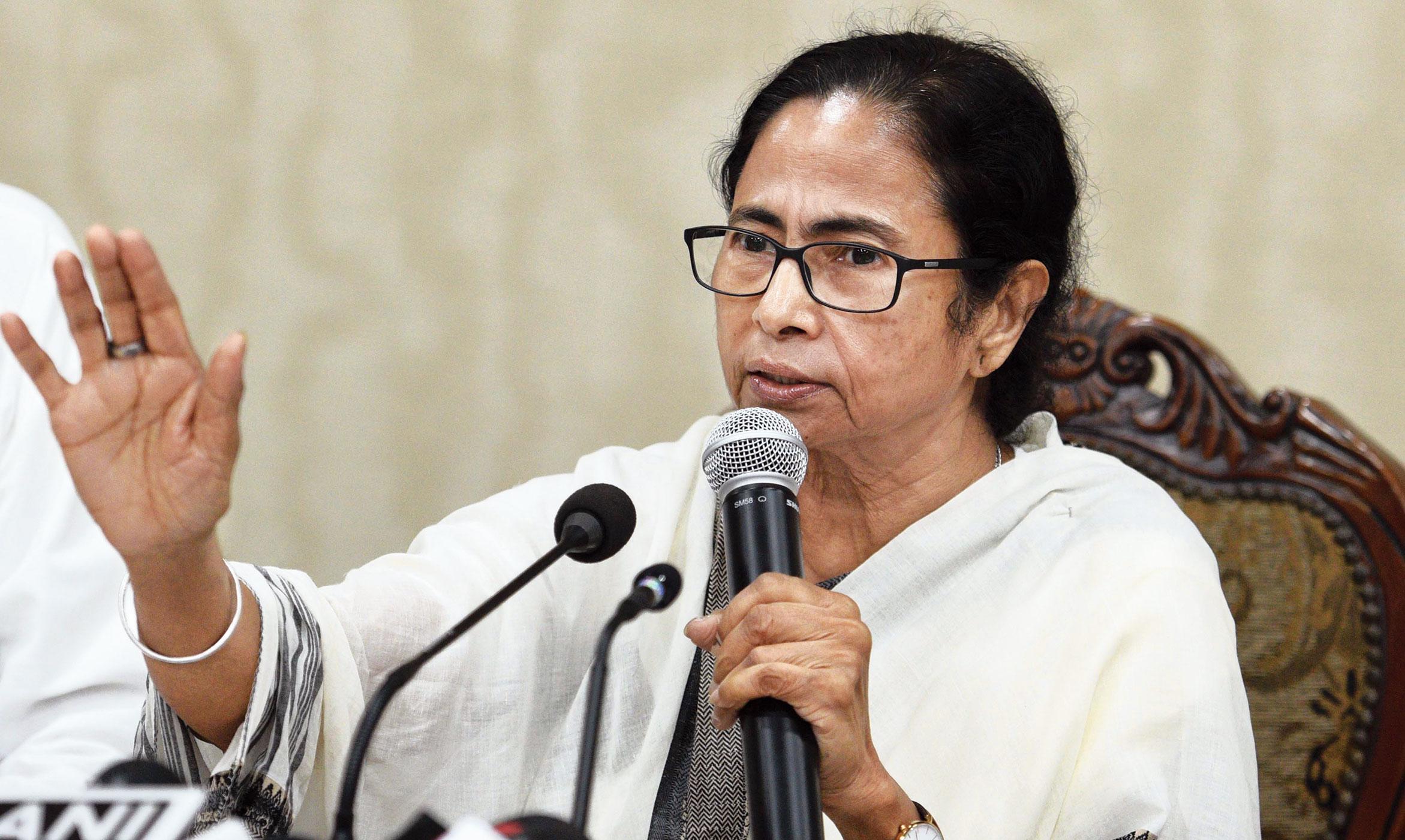 Mamata Banerjee at the news conference in Nabanna, Calcutta.