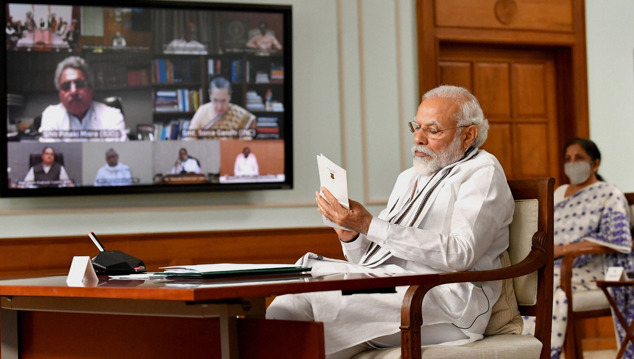 Prime Minister Narendra Modi during an all party meeting to discuss the situation along the India-China border via video conferencing, in New Delhi, Friday, June 19, 2020