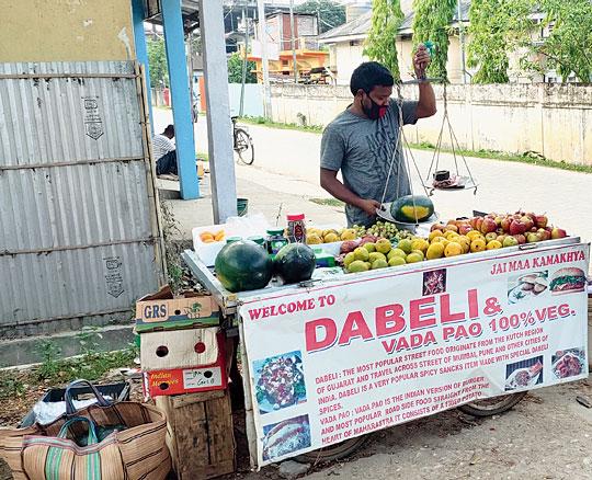 Madhu Nath sells fruits in Hojai.