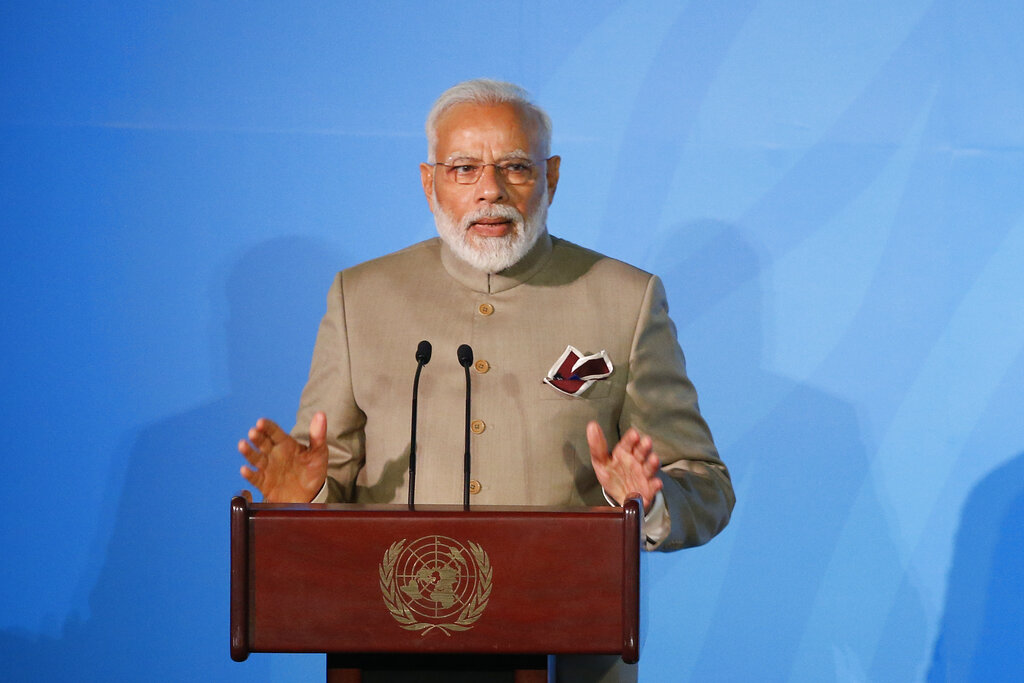 Prime Minister Narendra Modi addresses the Climate Action Summit in the United Nations General Assembly, at the U.N. headquarters, on Monday, September 23, 2019. India's ranking in the 2018 Environmental Performance Index has worsened under Mr Modi's watch