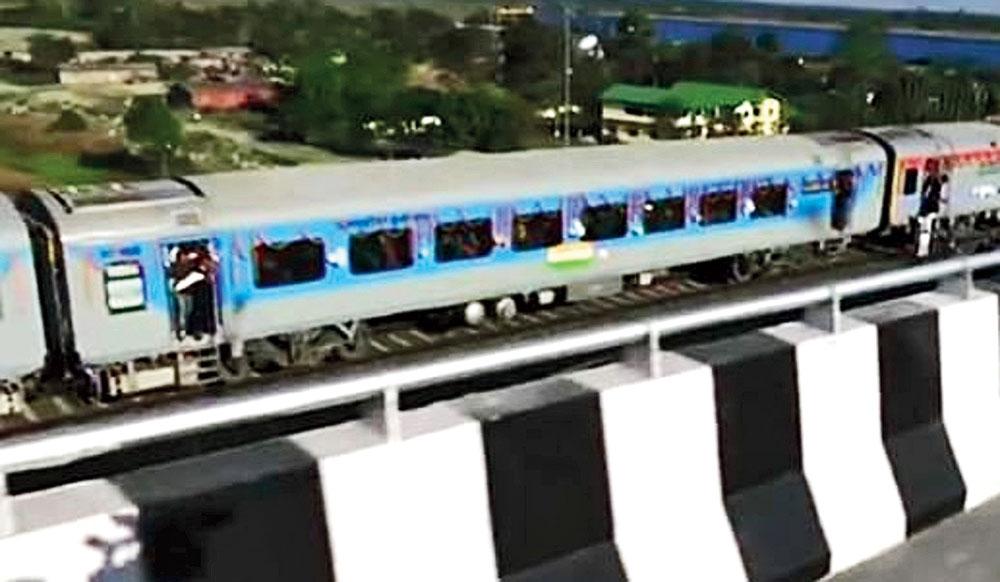 The train from Naharlagun to Tinsukia on the bridge.
