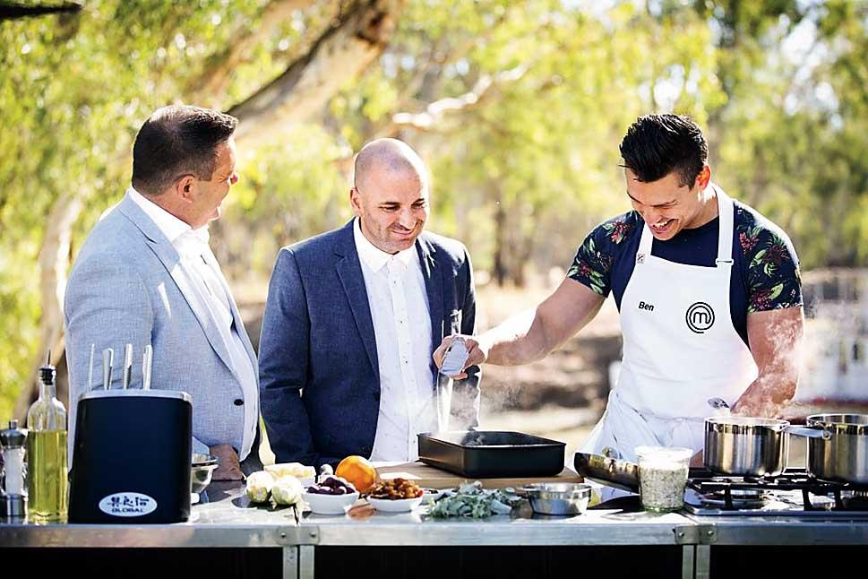 Ben with judges Gary Mehigan and George Calombaris on MasterChef Australia 9
