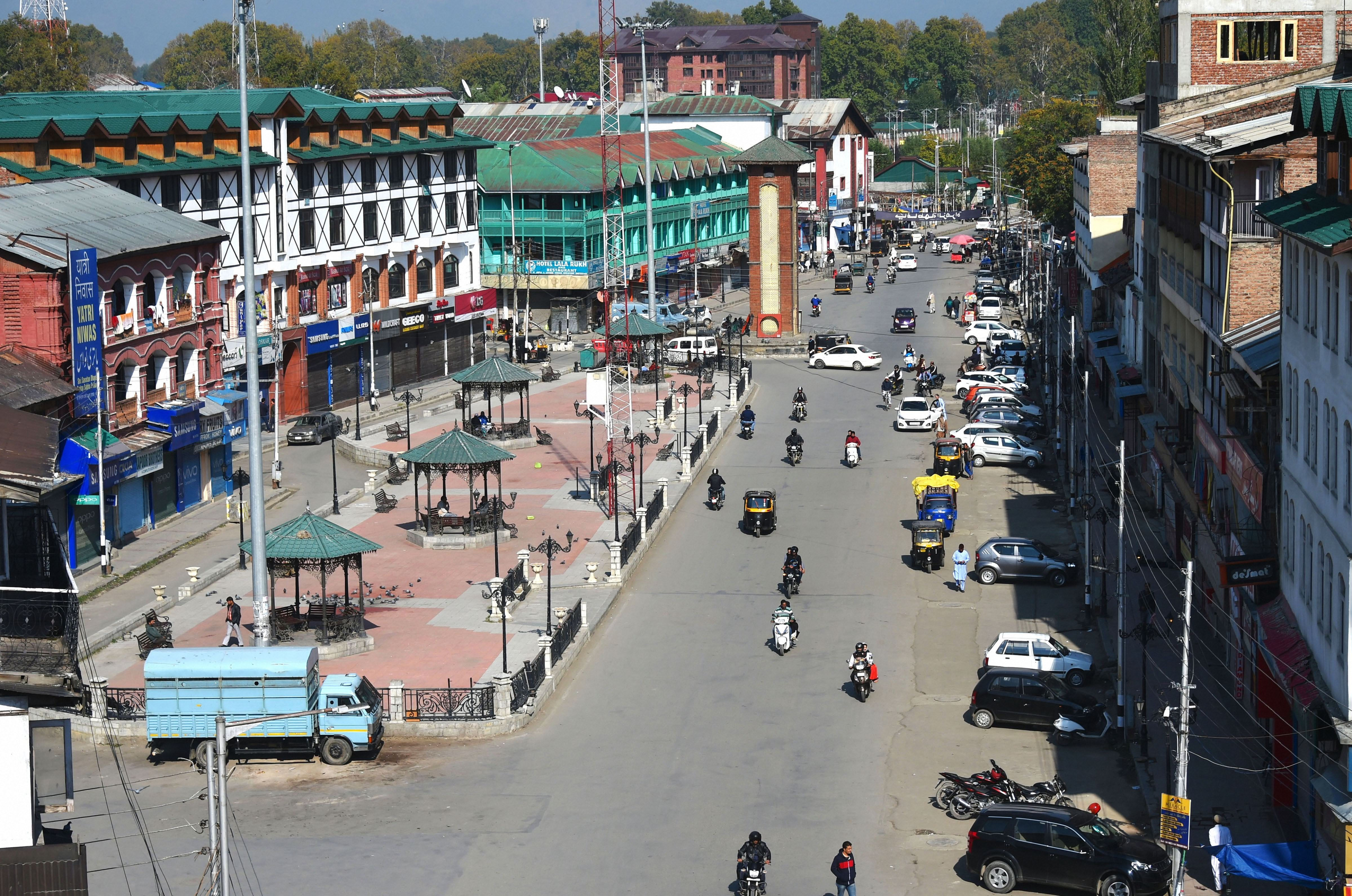 A view of Lal Chowk in Srinagar on October 9.