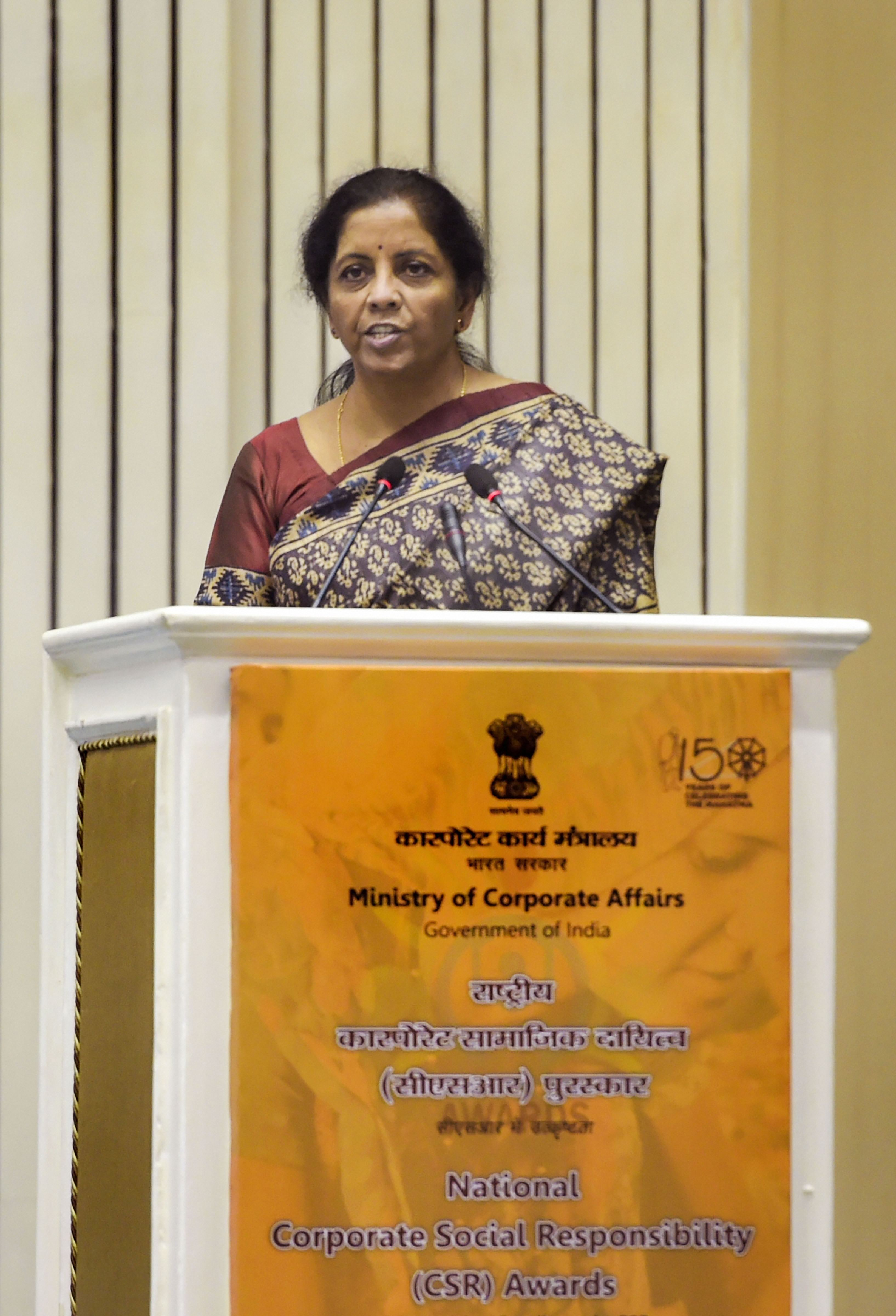 Union finance minister Nirmala Sitharaman addresses the National Corporate Social Responsibility Awards function in New Delhi, Tuesday, October 29, 2019.