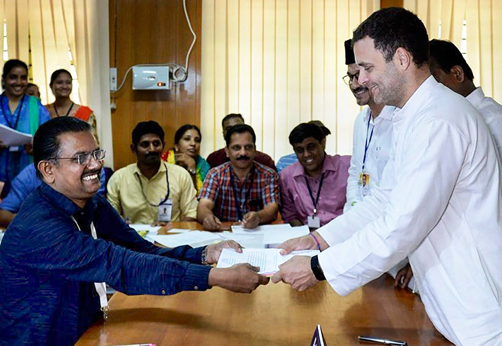 Congress President Rahul Gandhi files his nomination from Wayanad Lok Sabha constituency in Wayanad on Thursday, April 04, 2019.