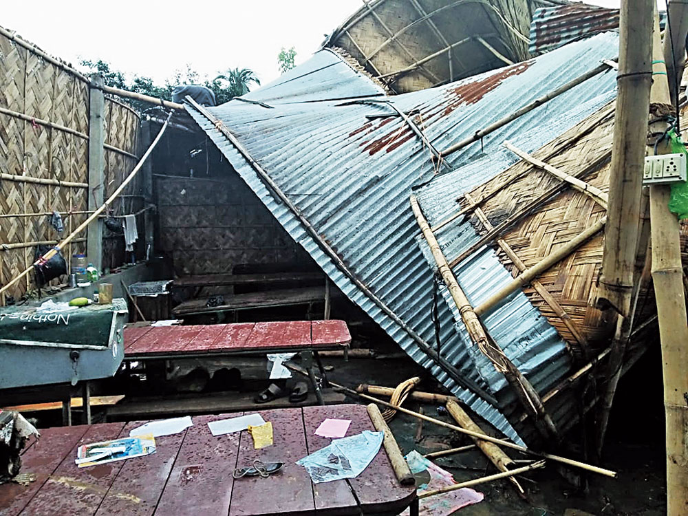 The collapsed roof of the Dubapara police outpost.