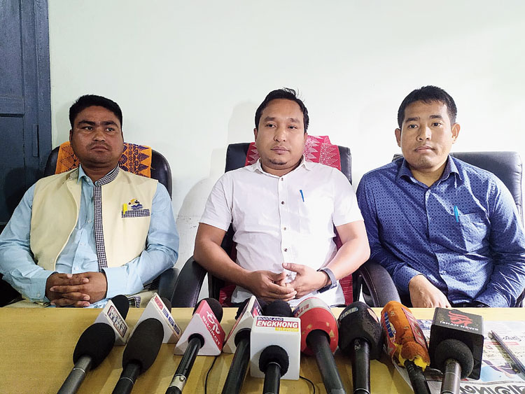 The news conference in Kokrajhar on Monday.