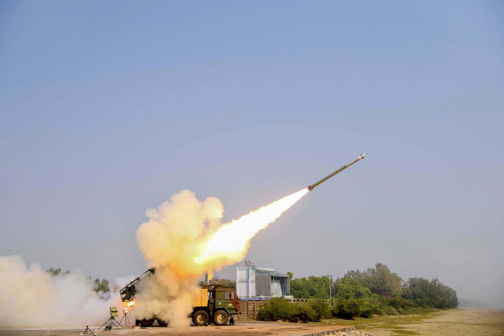 A Pinaka missile is test-fired during a trial conducted by the Defence Research and Development Organisation (DRDO) at Chandipur in Balasore, Odisha, on December 20
