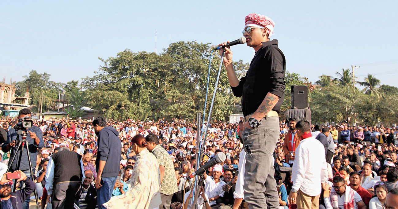 Actor Zubeen Garg addresses a public meeting at Assam Engineering Institute playground, Chandmari, on Friday