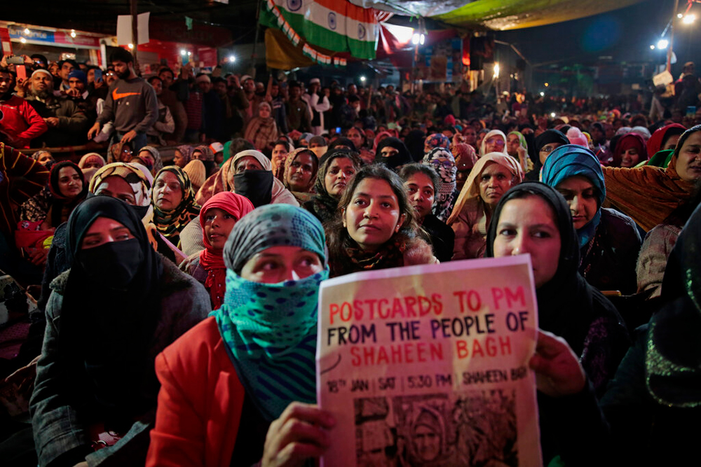 Protesters at Shaheen Bagh in New Delhi on January 18