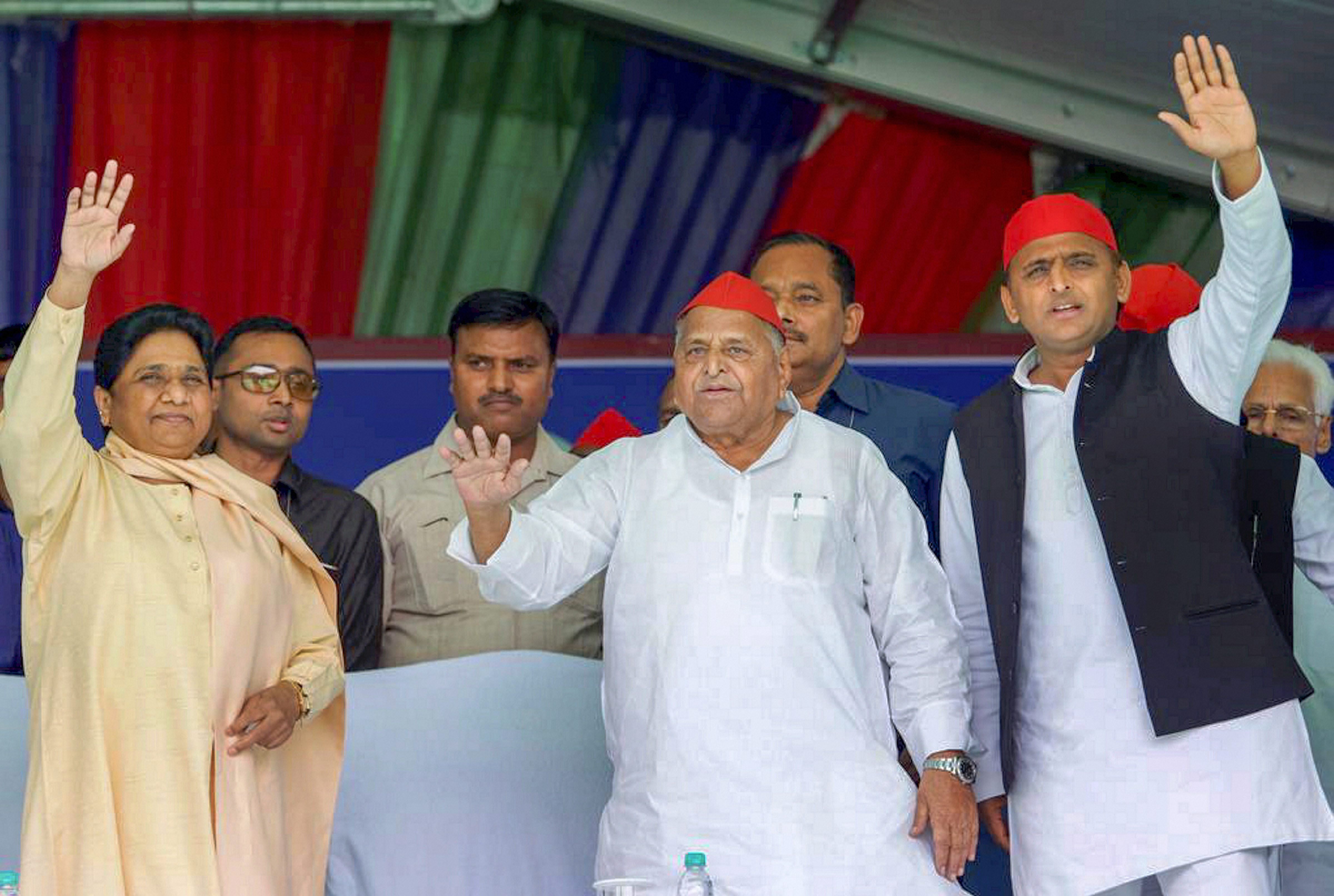 Mayawati, Mulayam and Akhilesh at the Mainpuri rally on Friday.