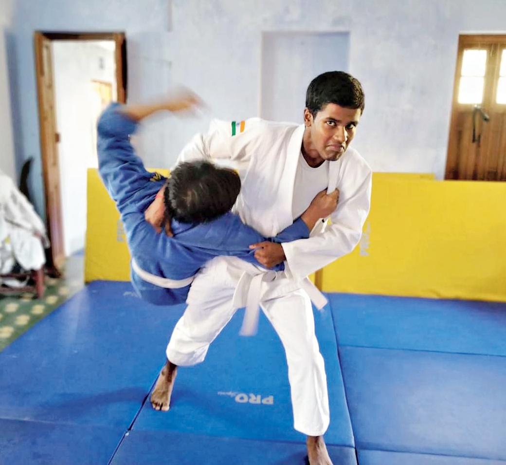 Buddhadeb Jana (in white) at a judo session