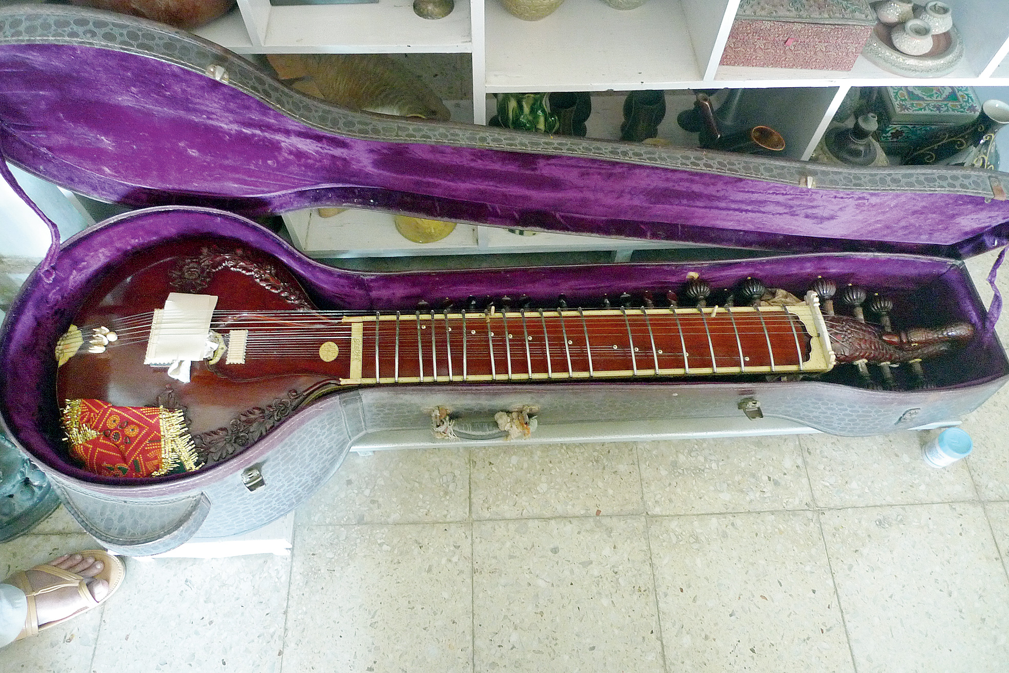 "The surbahar (bass sitar) played by Annapurna Devi at her home on Warden Road in Malabar Hill, Mumbai. This instrument was made by Pandit Ravi Shankar's personal sitar maker Nodu Mullick in 1951 and has ""Annapurna"" inscribed on it in Bengali. Sitar player Shubhendra Rao, a disciple of Pandit Ravi Shankar, said on Saturday: ""In the 1950s, my guruji had hired Mullick to make and maintain only his sitar and surbahar. He also used to travel across the globe with my guruji and play tanpura on the stage with him. So, apart from my guruji's instruments, Annapurna Devi's surbahar may be the only one ever made by Mullick, which makes it a rarity."" Annapurna Devi's last public concert was in 1956."