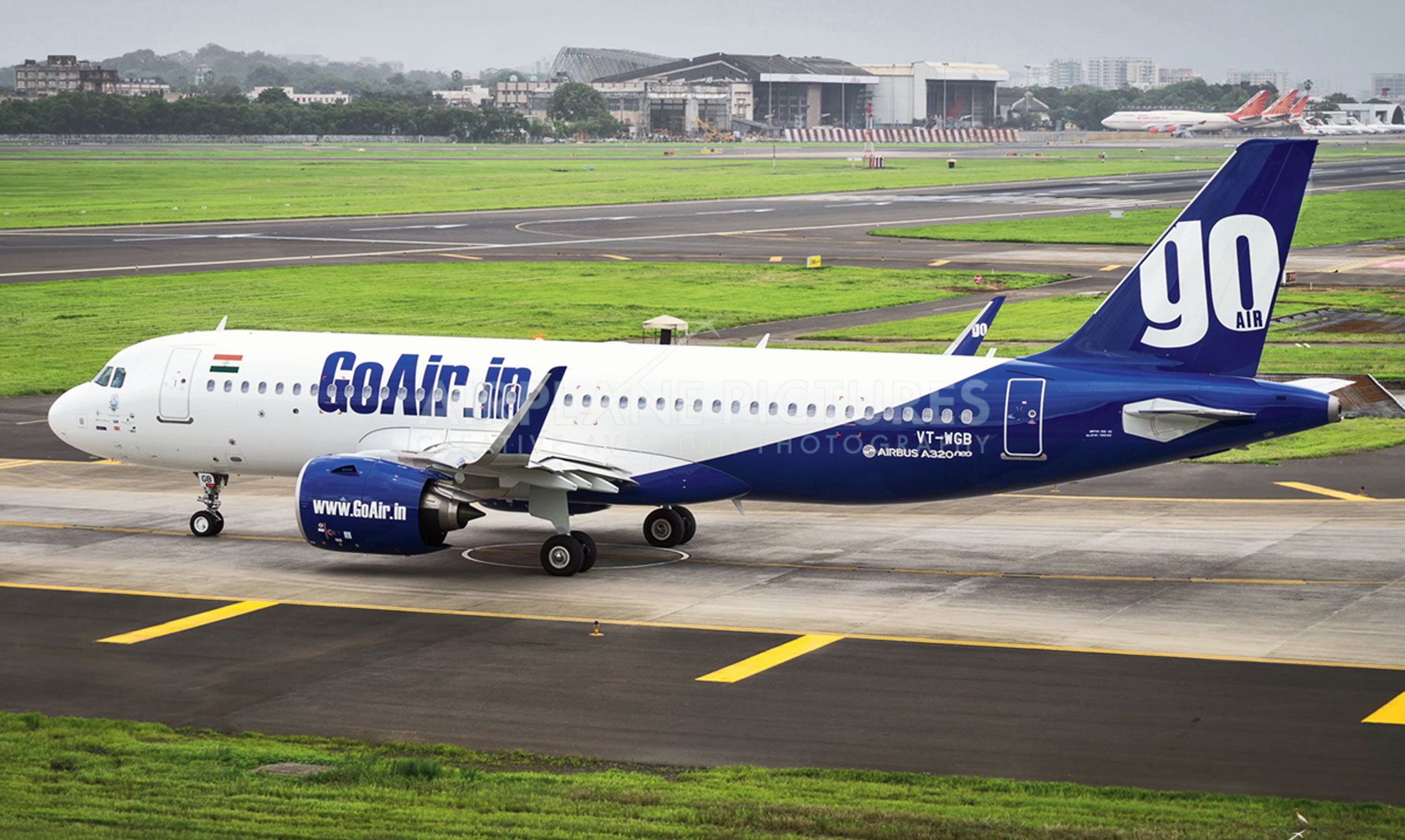 A picture of a GoAir plane