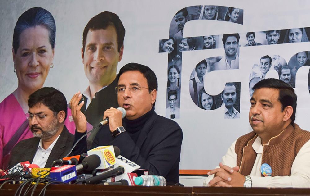 Randeep Singh Surjewala (centre) in New Delhi on February 6