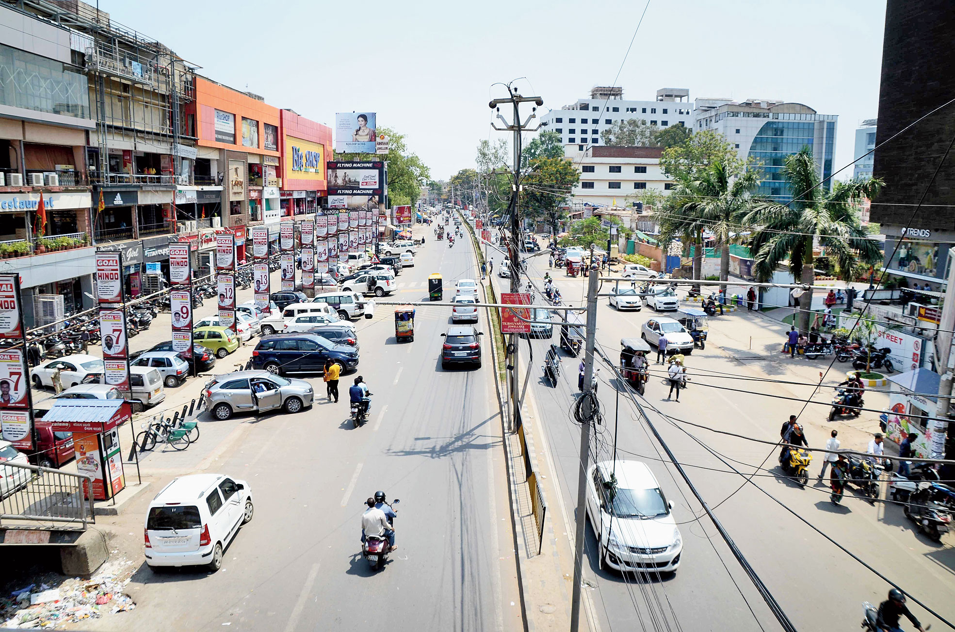Main Road in Ranchi wears a deserted look on Thursday.