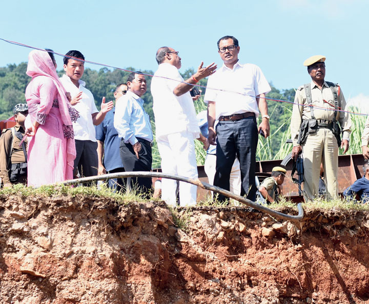 Hills area development minister Sum Ronghang at the site on Sunday.