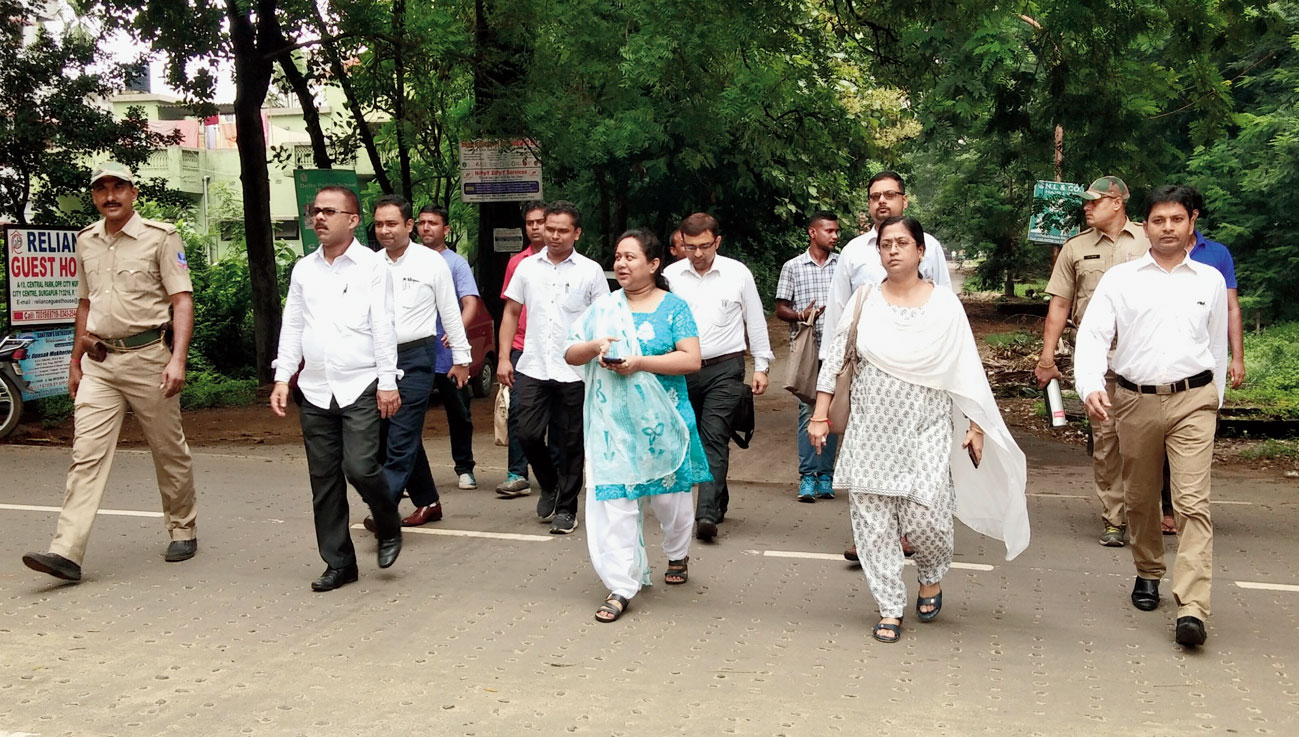 Judges walk to the court in Durgapur on Thursday.