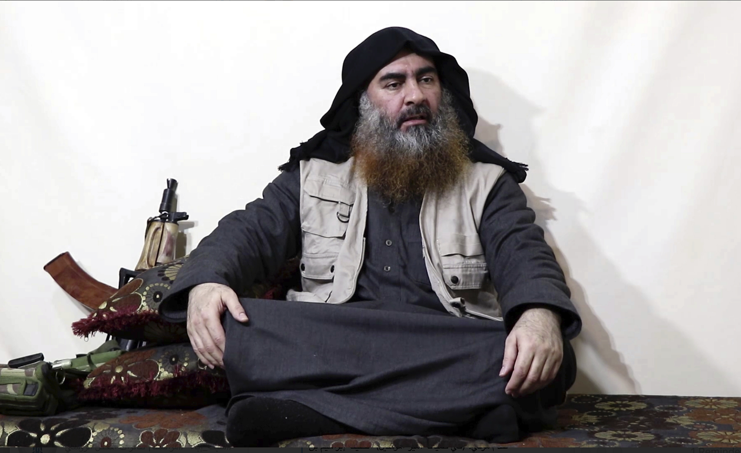 This file image made from video posted on a militant website April 29, 2019, purports to show Abu Bakr al-Baghdadi, being interviewed by his group's Al-Furqan media outlet