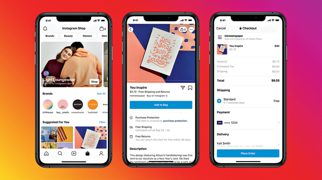 The interface of Facebook Shops