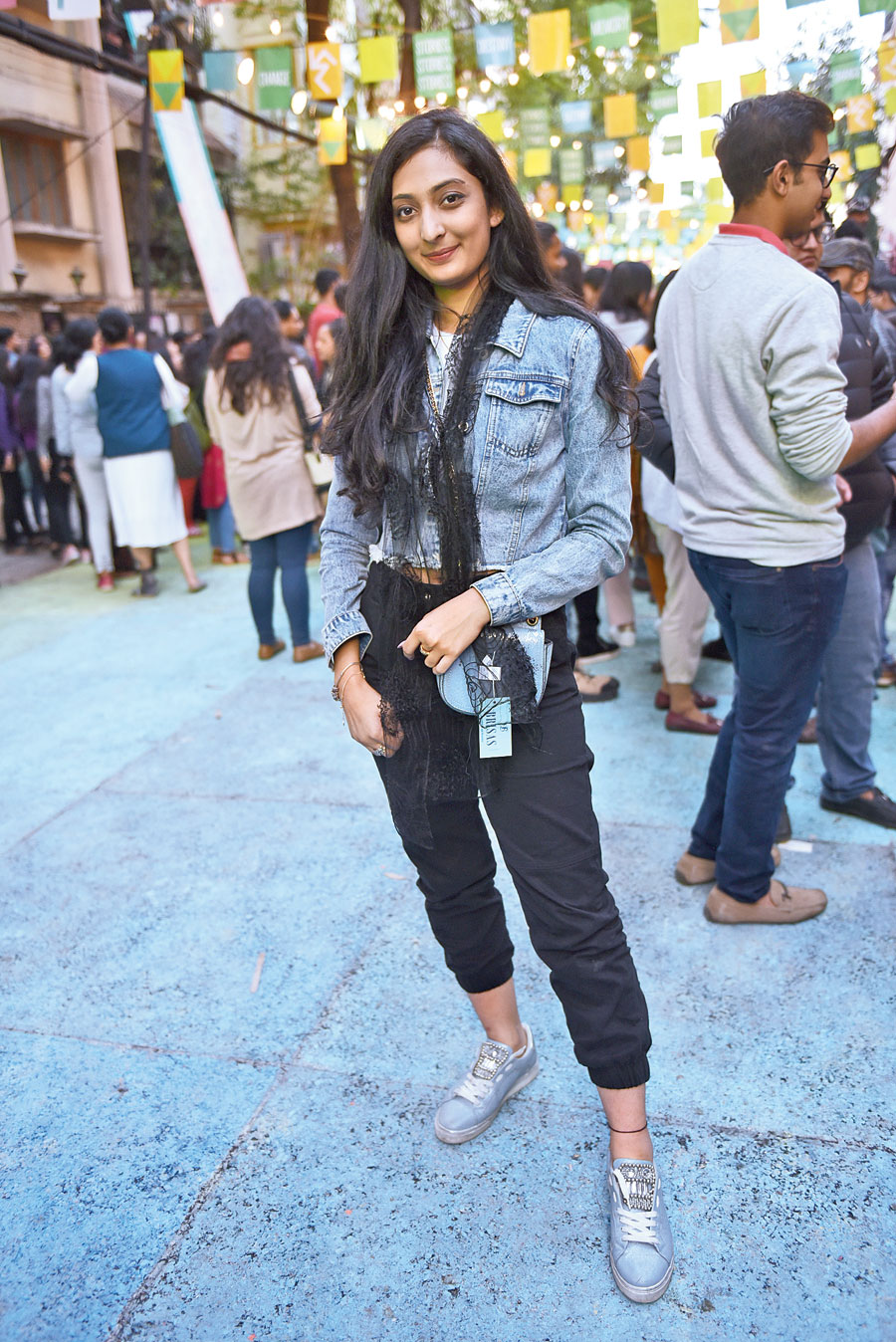 We loved how Rhea Singhee matched her denim jacket with her sneakers and a sling paired with a black pair of pants.