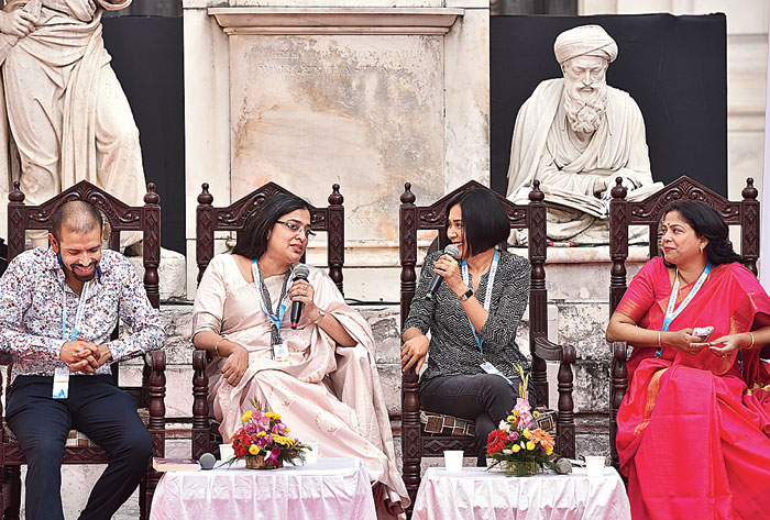 Three authors on the panel — Damyanti Biswas, Rajorshi Chakraborti and Rituparna Roy, who in their new novels largely talk about the various old and new challenges faced by women in their own cities though under different circumstances.