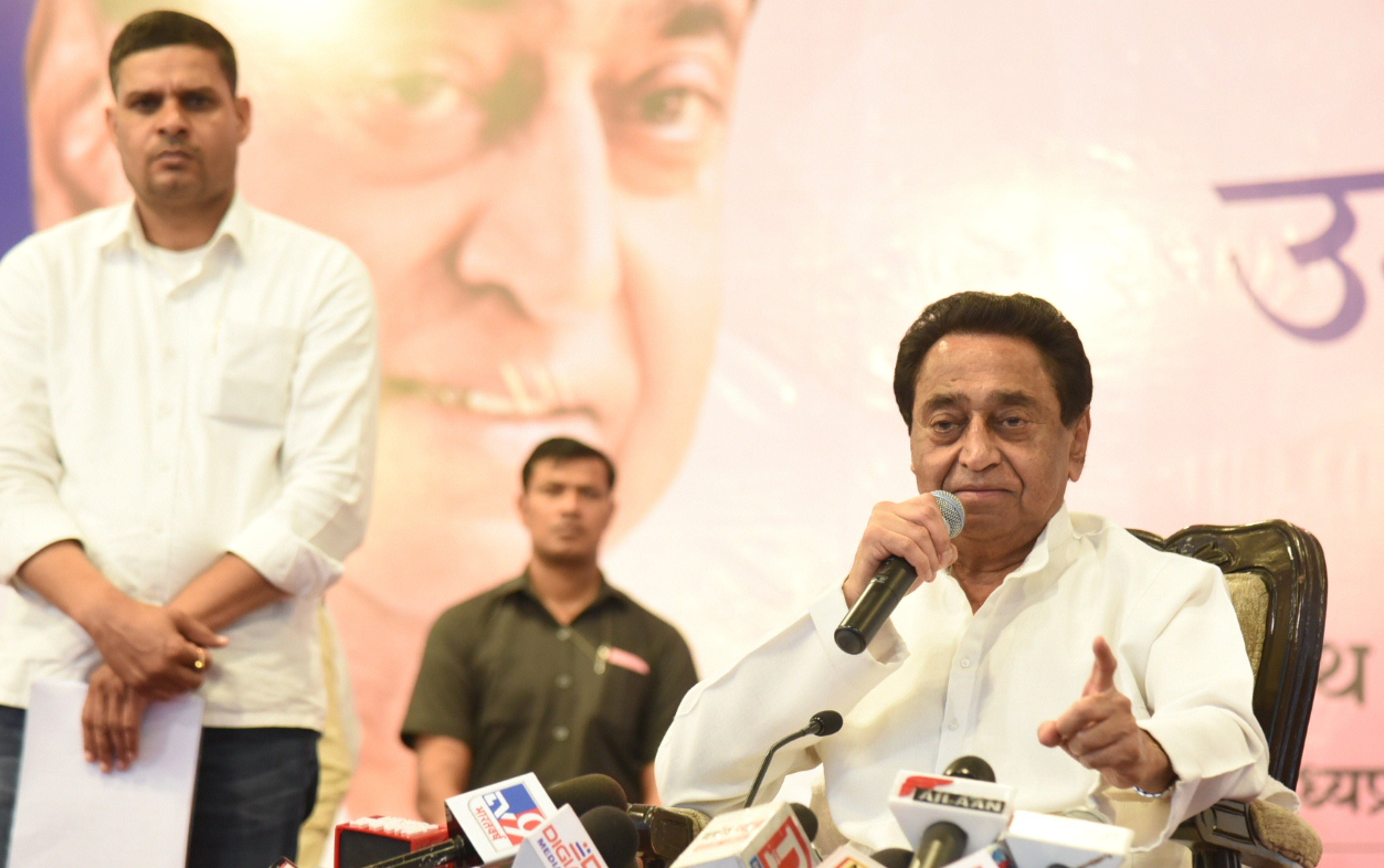 Madhya Pradesh chief minister Kamal Nath addresses the media at CM house in Bhopal, Friday, March 20, 2020