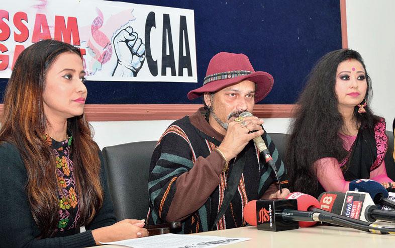 Barsha Rani Bishaya, Zubeen Garg and Garima Saikia Garg at the news meet on Thursday