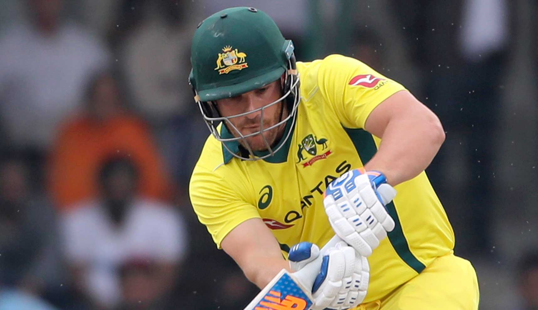 Aaron Finch plays a shot during the final ODI match between India and Australia in New Delhi, India, on March 13, 2019.