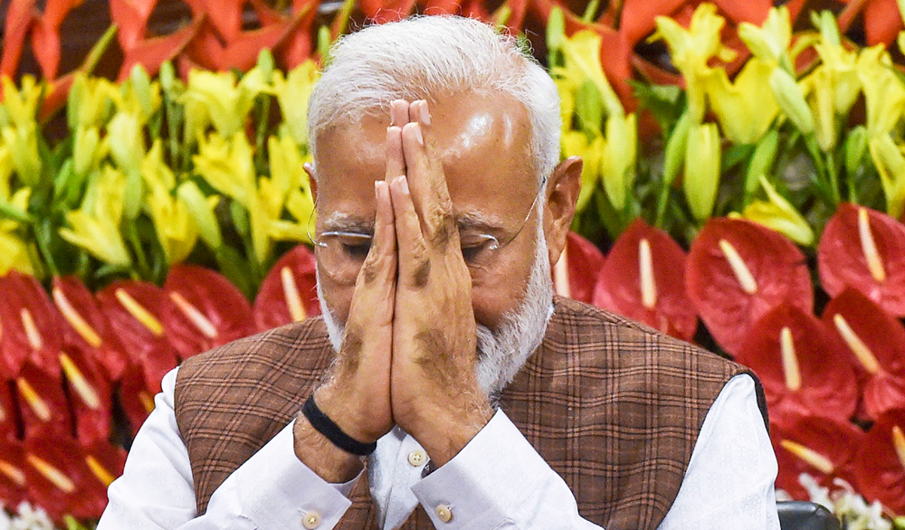 Prime Minister Narendra Modi at the NDA parliamentary board meeting at Parliament House, in New Delhi, Saturday, May 25, 2019