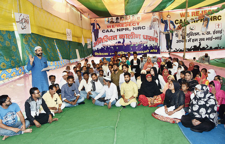 The dharna against the new citizenship matrix at Naya Bazar in Dhanbad on Wednesday.