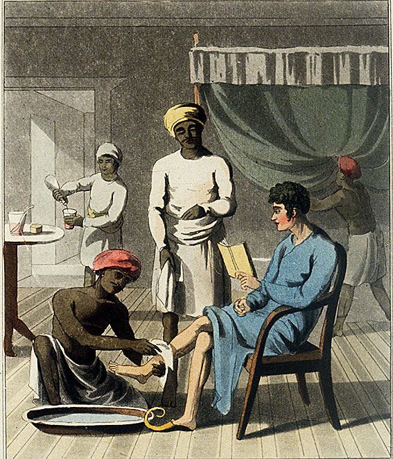 A print from 'The European in India' by Charles Doyley