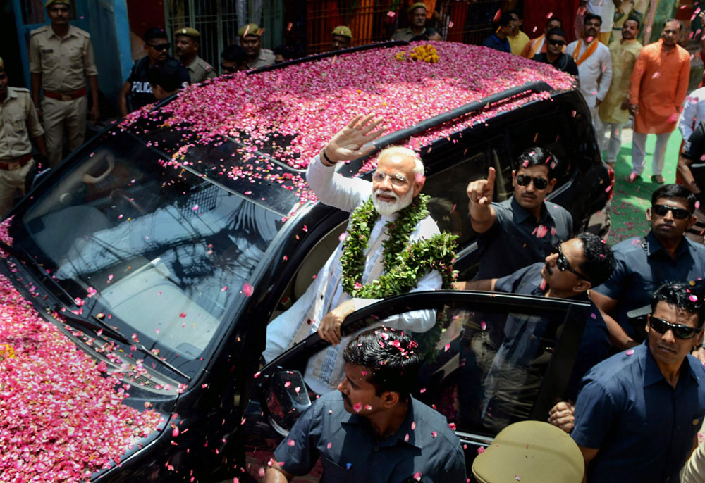 Prime Minister Narendra Modi on his way to file his nomination paper in Varanasi on Friday, April 26, 2019.