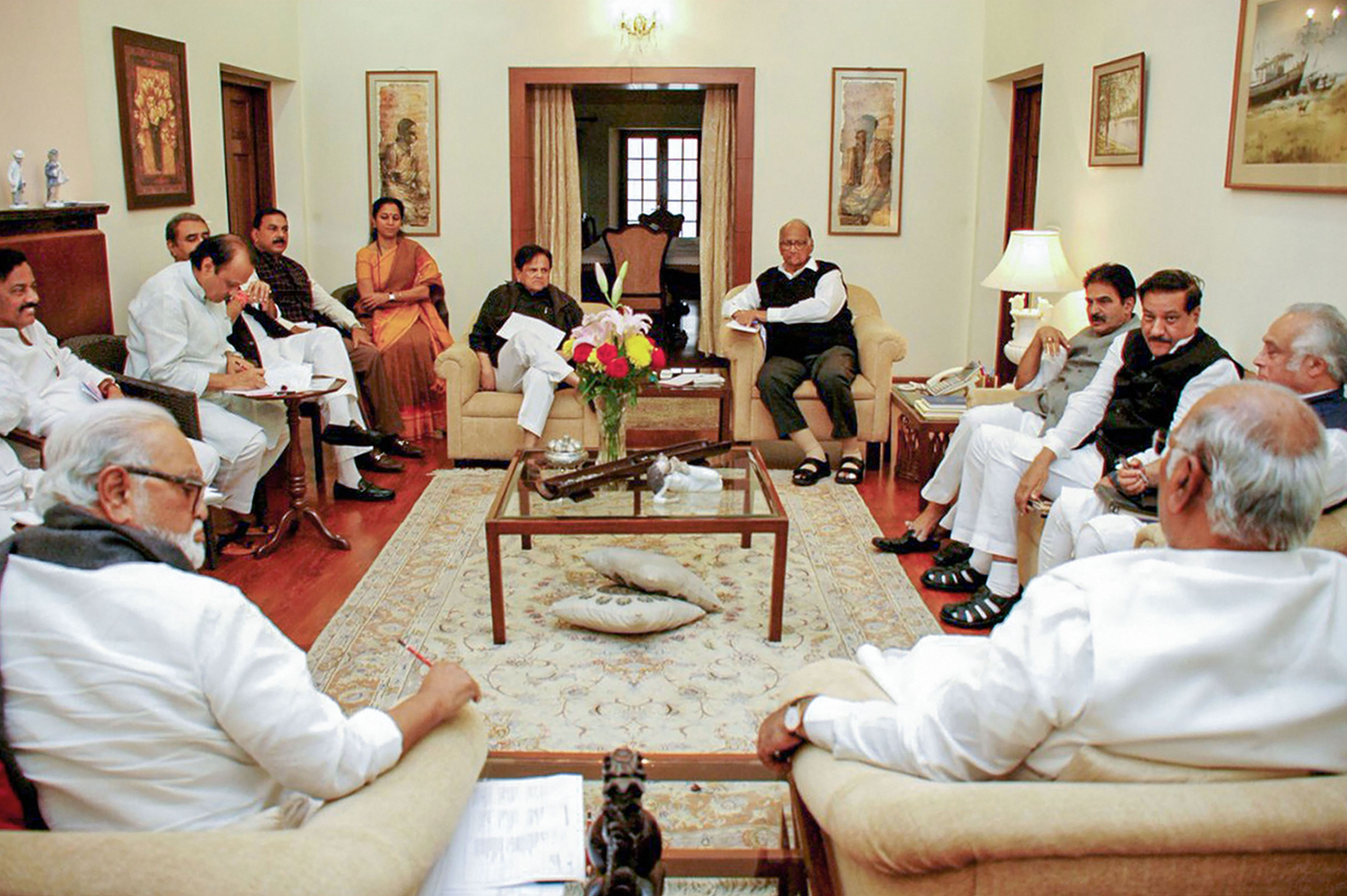 NCP chief Sharad Pawar, senior Congress leader Ahmed Patel and others during the NCP-Congress meeting on government formation in Maharashtra, at Pawar's residence in New Delhi, Thursday, November 21, 2019.
