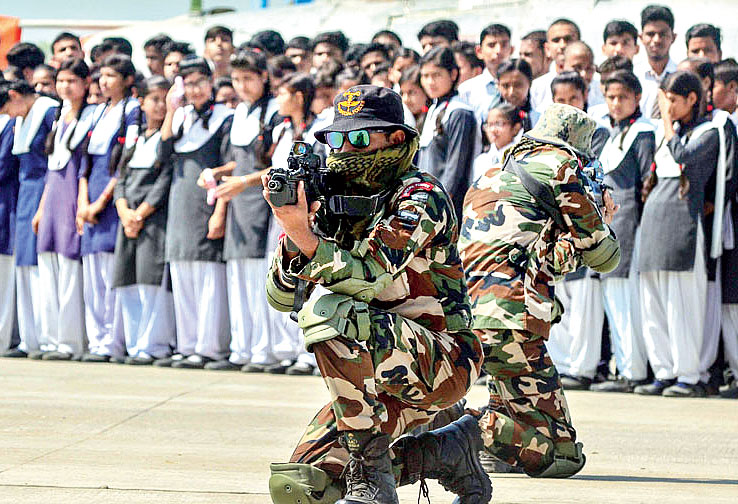 Soldiers during a mock drill demonstration of 'Surgical Strikes' during Parakram Parv