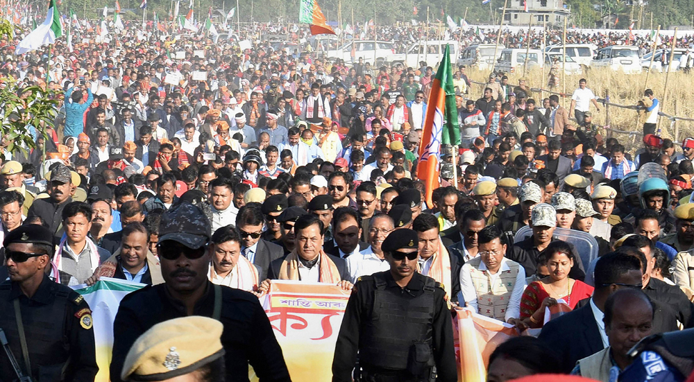 Assam Chief Minister Sarbananda Sonowal with senior BJP leader and NEDA convener Himanta Biswa Sarma, BJP Assam State president Ranjeet Kumar Dass and other leaders take part in a silent rally for peace and harmony, in Dhemaji district of Assam, Wednesday, January 8, 2020.