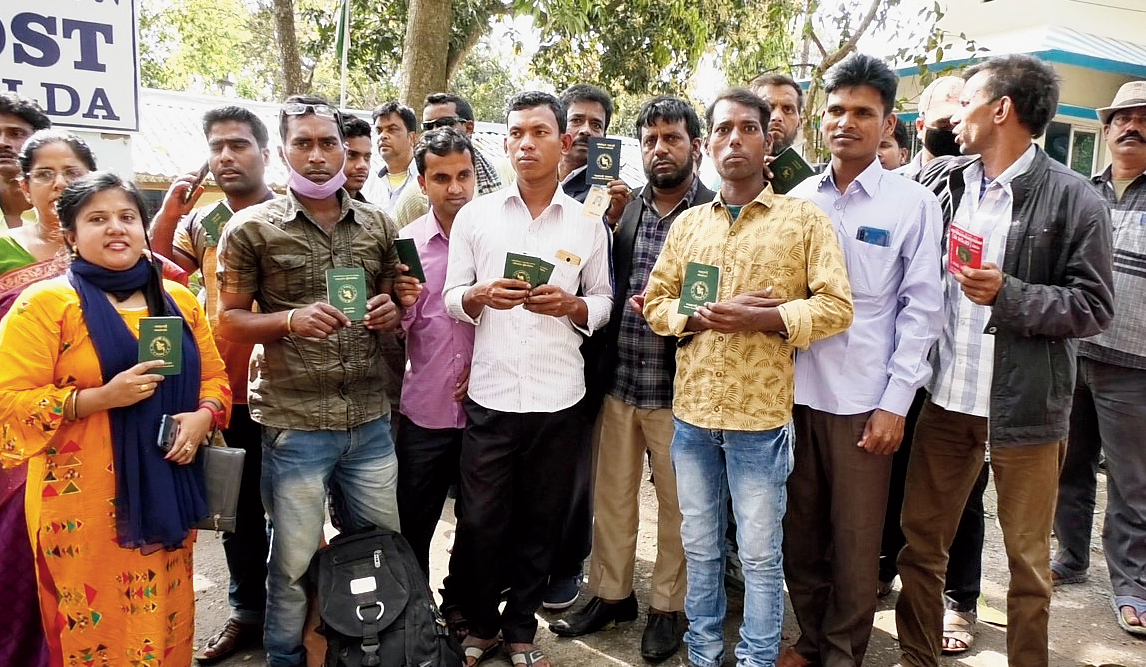Some of the Bangladeshis stranded on the border on Monday.