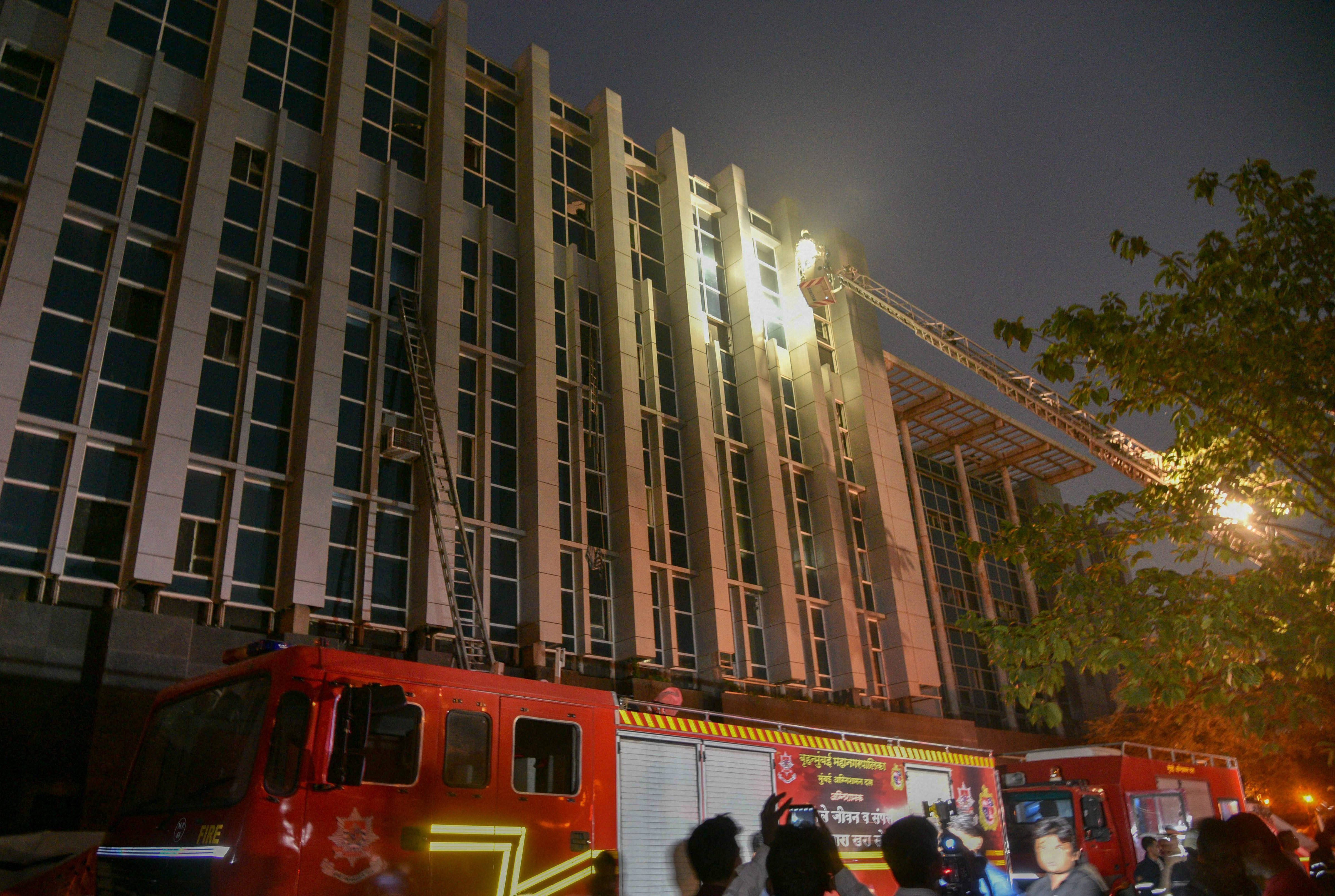 Fire tenders at the ESIC Kamgar Hospital in  Mumbai on Monday.