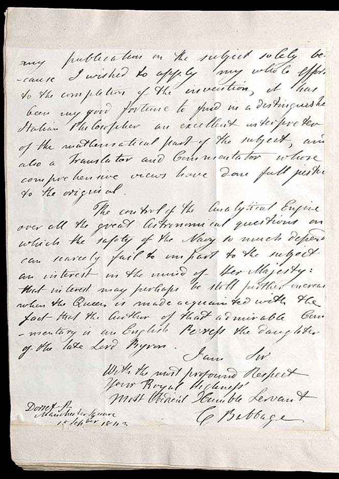 A letter written to Prince Albert, the great-great-grandfather of Queen Elizabeth II, by Charles Babbage.