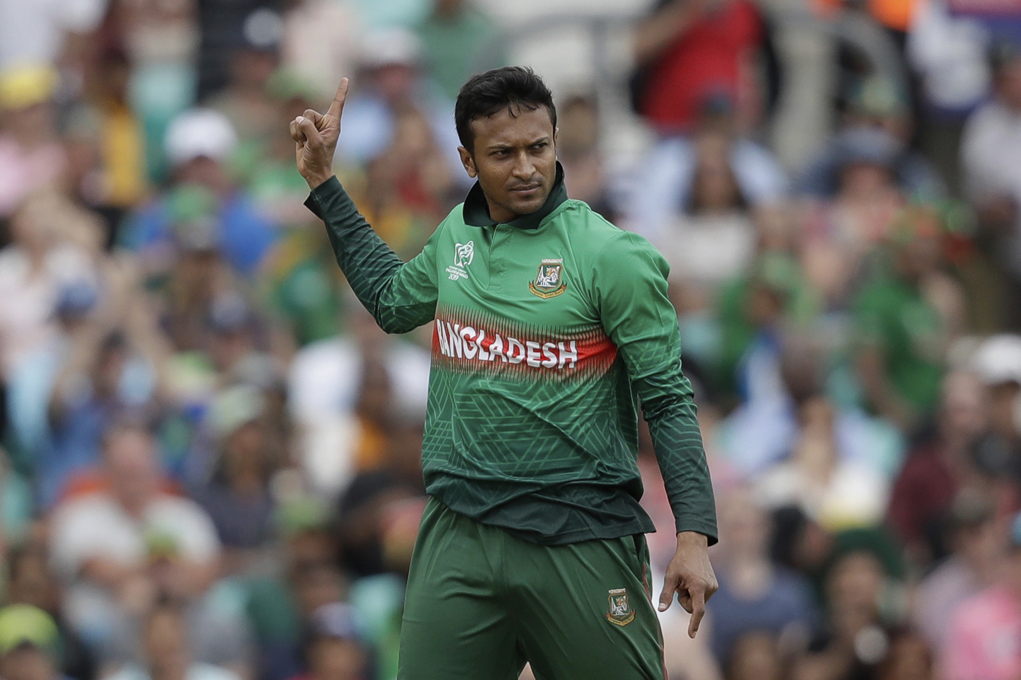 Bangladesh's Shakib Al Hasan celebrates taking the wicket of South Africa's Aiden Markram at the Oval in London on June 2.
