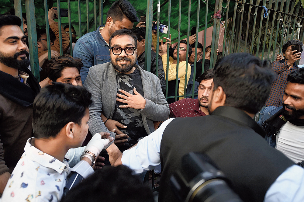 Anurag Kashyap during the protest against the Citizenship (Amendment) Act at Jamia Millia Islamia on Friday