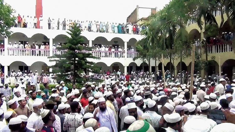 Thousands of Bangladeshis at the funeral of a popular cleric in Brahmanbaria, Bangladesh.