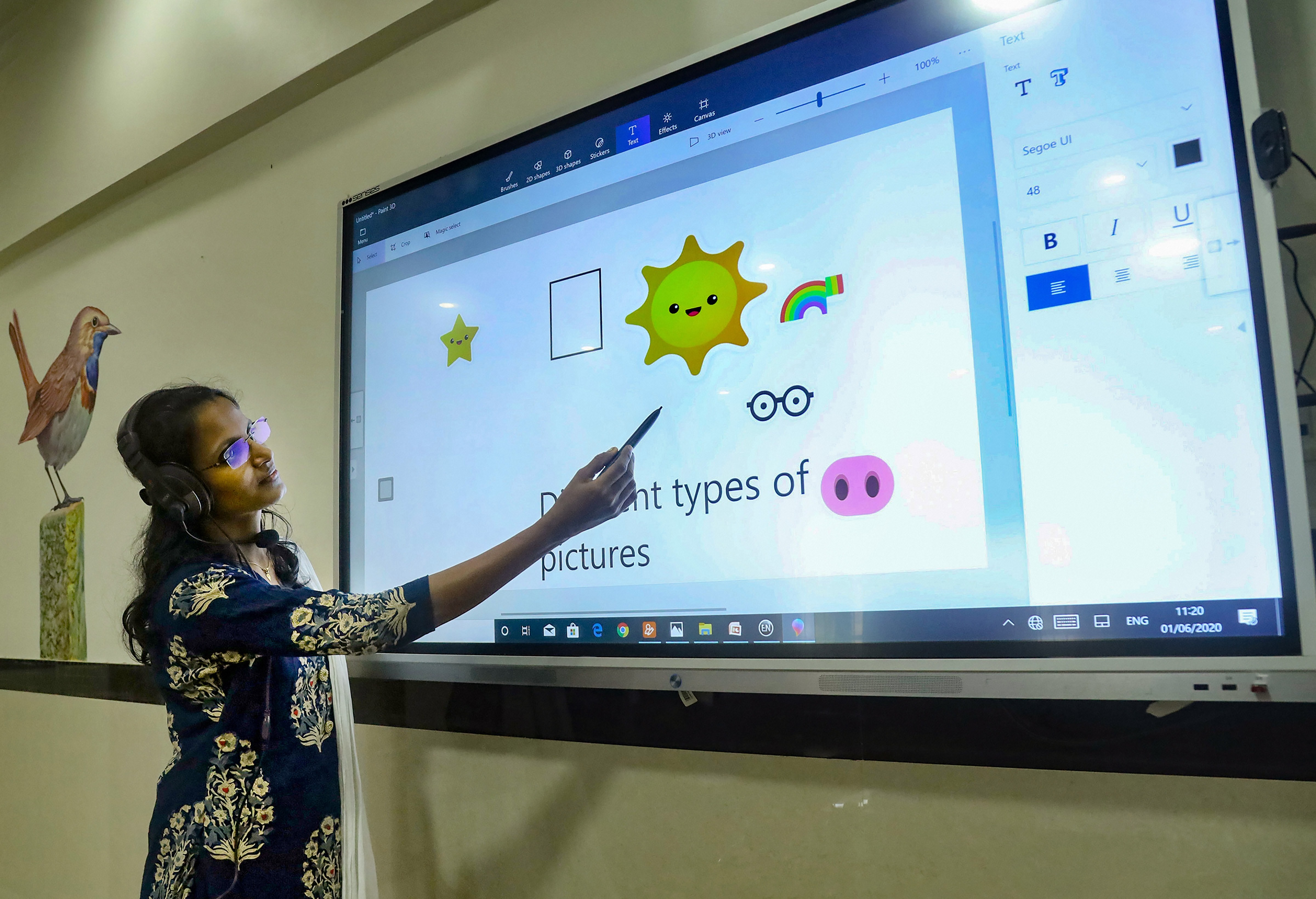A teacher takes an online class for school students, in Kozhikode, Monday, June 1, 2020.