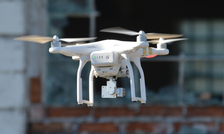 Drone quadrocopter Phantom3 Professional with high resolution digital camera designed by the Chinese company DJI.