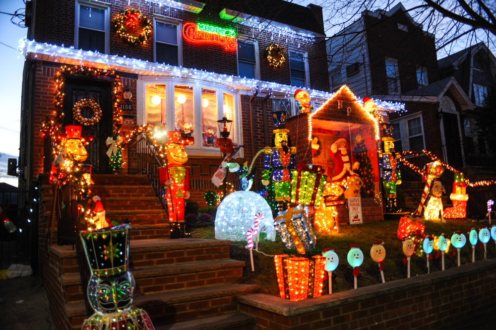 Christmas lights in a house in Dyker Heights in the Brooklyn Metropolitan area of New York City in December 2017